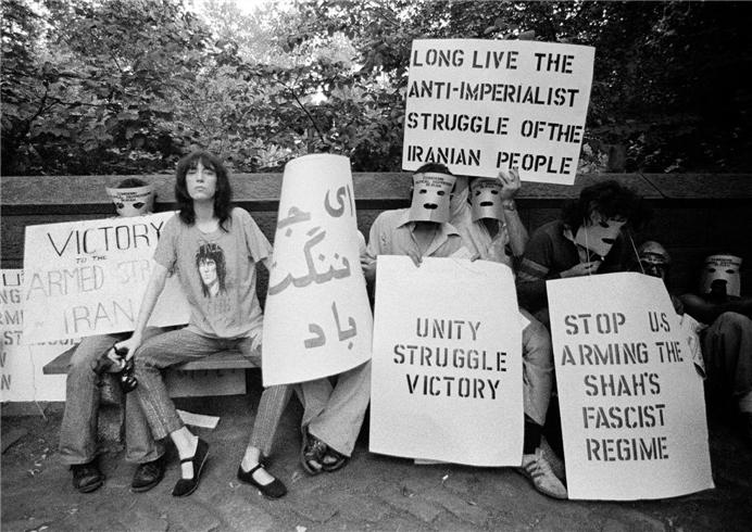 Patti Smith in an Iran War Protest, NYC 1975.